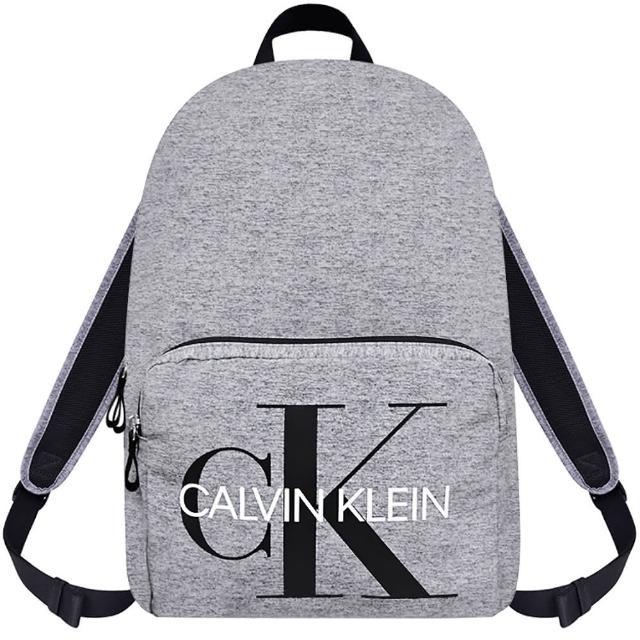 【Calvin Klein 凱文克萊】LOGO超輕量後背包-大型(大象灰色)