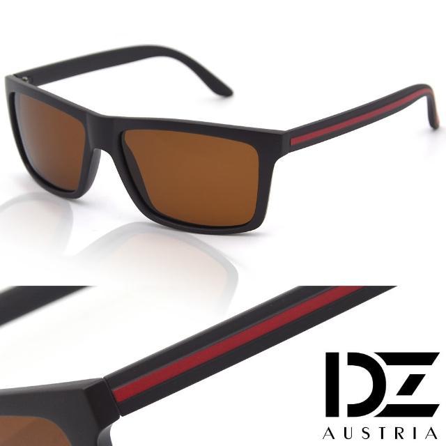 【DZ】UV400防曬偏光太陽眼鏡墨鏡-簡約線條格調(霧咖框茶片)