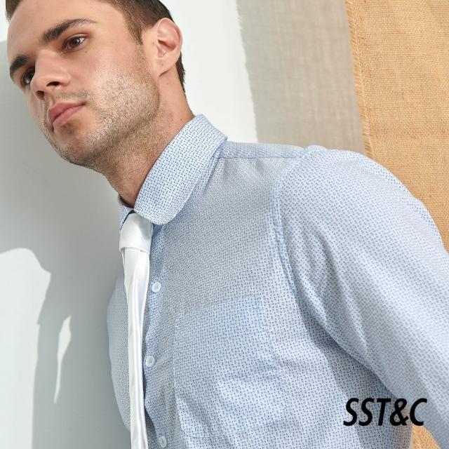 【SST&C】白底小飯糰印花修身款長袖襯衫0312105010