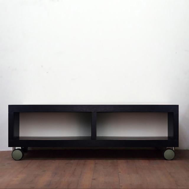 【職人家居】可移動滾輪電視櫃120cm黑色雙格款-1095(電視櫃 置物櫃 木質收納櫃)