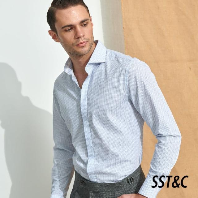 【SST&C】淺藍方格印花修身款長袖襯衫0312105004