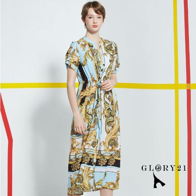 【GLORY21】新品-法式圖騰綁帶洋裝(藍黑)
