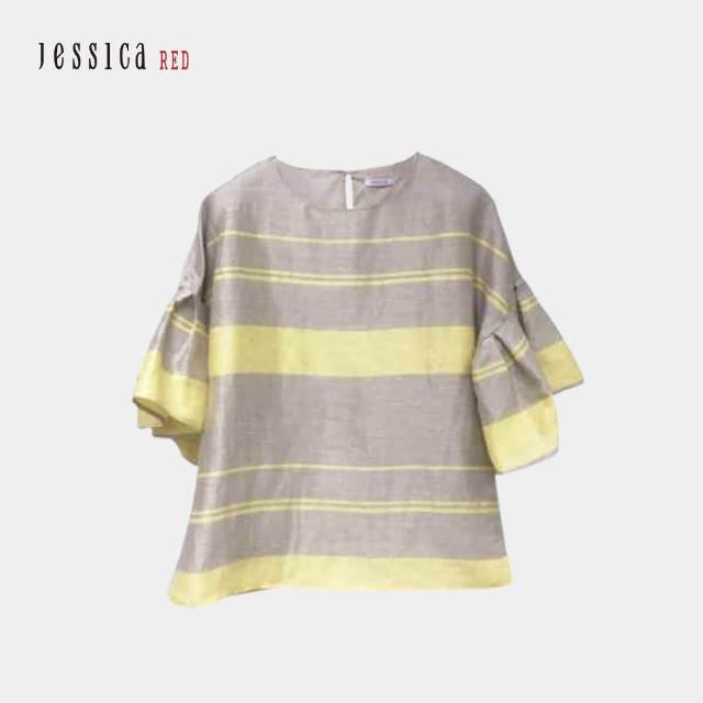 【Jessica Red】百搭輕薄亞麻圓領條紋荷葉袖上衣