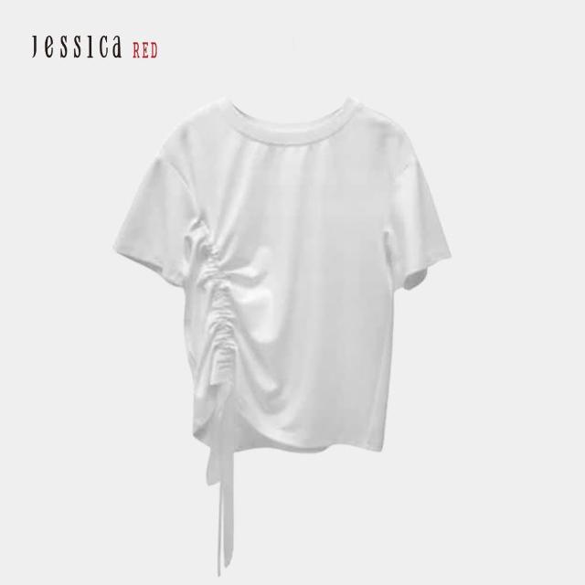 【Jessica Red】休閒百搭抽繩圓領短袖T恤(白)