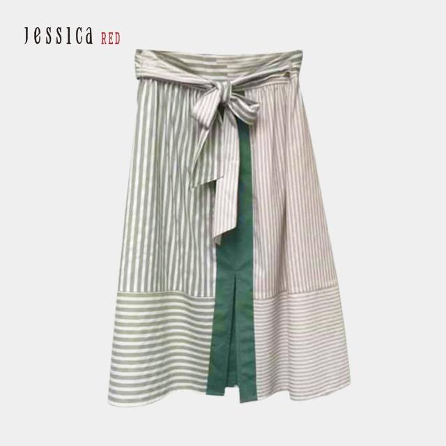 【Jessica Red】休閒寬鬆條紋開叉綁帶中長裙