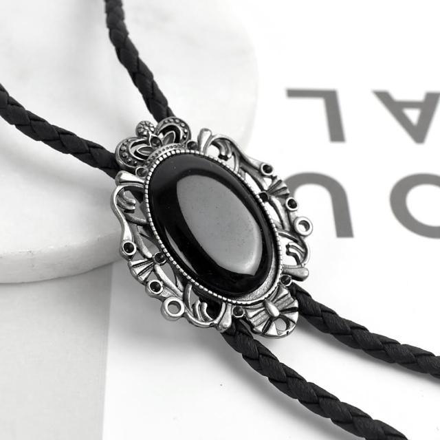 【men life】保羅領帶 皇冠花邊橢圓黑寶石項鍊(皮革項鍊)
