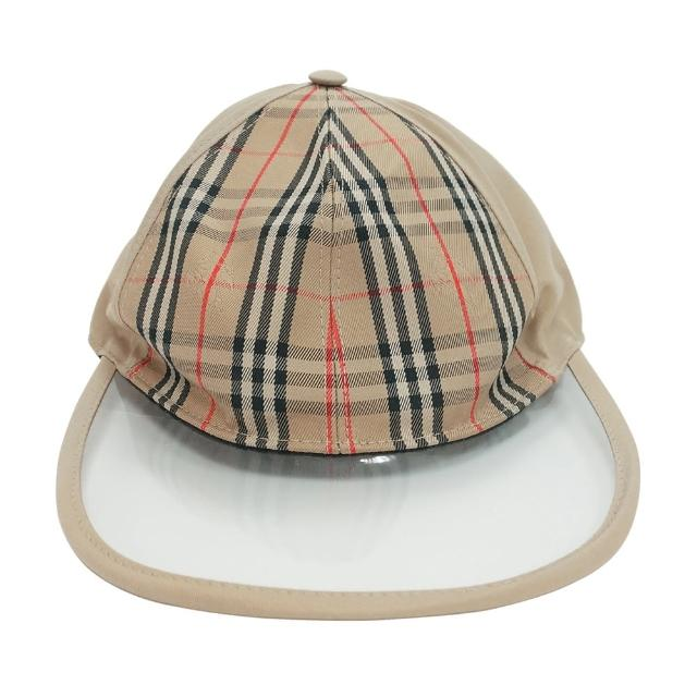 【BURBERRY 巴寶莉】BURBERRY VINTAGE經典格紋透明鴨舌設計棒球帽(米)