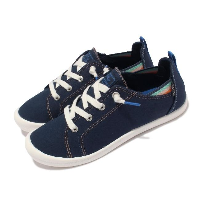 【SKECHERS】休閒鞋 Beach Bingo 套入式 帆布 女鞋 後跟可踩 緩衝 可機洗 BOBS 藍 白(113998-NVY)