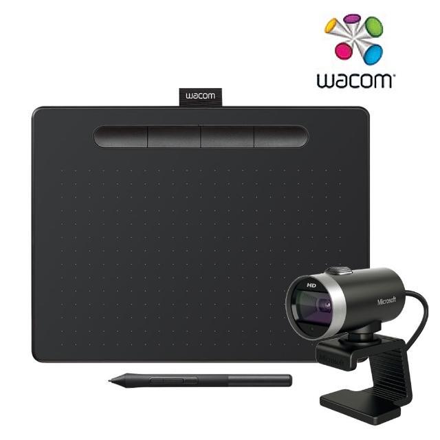微軟網路攝影機超值組【Wacom】Intuos Basic Medium 繪圖板 -入門版-黑(CTL-6100/K1-C)