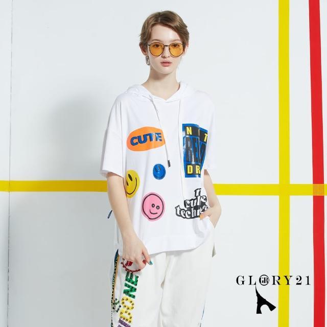 【GLORY21】新品-可愛笑臉連帽T恤上衣(白色)