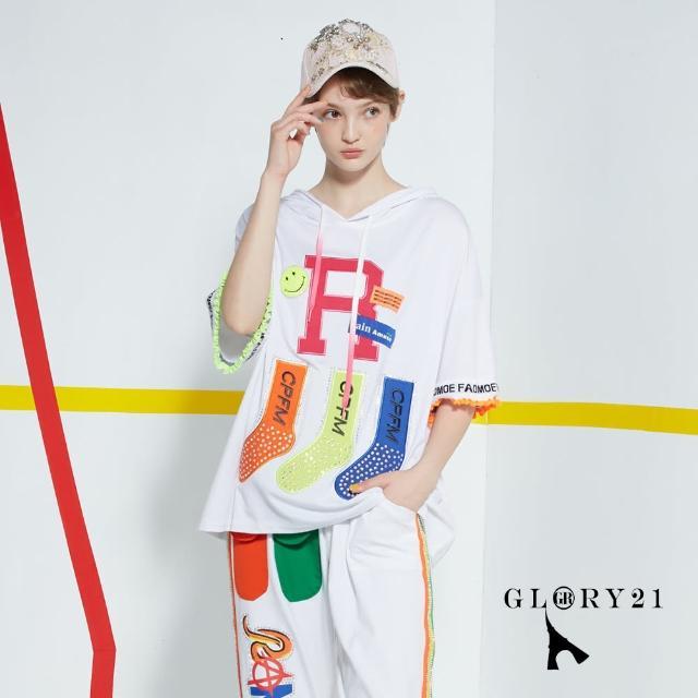 【GLORY21】新品-彩色襪連帽T恤上衣(白色)