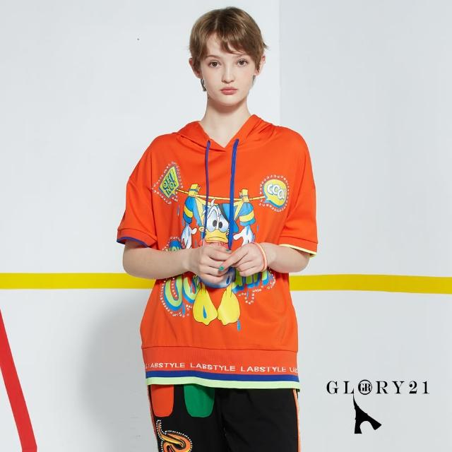 【GLORY21】新品-唐老鴨連帽T恤上衣(橘色)