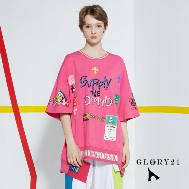 【GLORY21】新品-美式塗鴉休閒T恤上衣(桃紅)