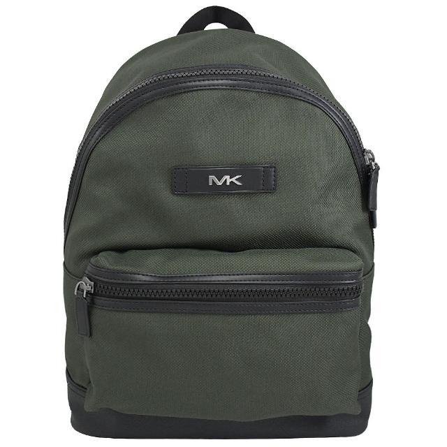 【Michael Kors】KENT 經典款撞帆布拼接輕旅後背包商務包(深綠)