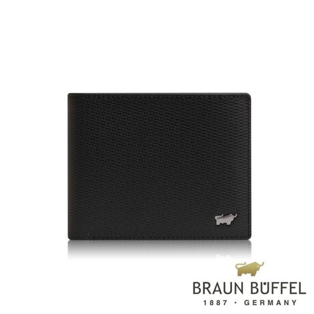 【BRAUN BUFFEL 德國小金牛】席德系列5卡透明窗皮夾-黑色