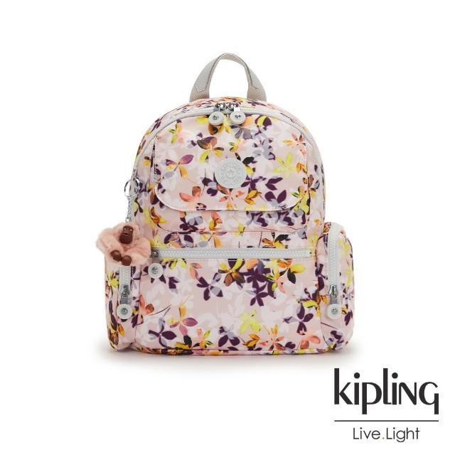 【KIPLING】飄零落花粉多口袋拉鍊後背包-MATTA
