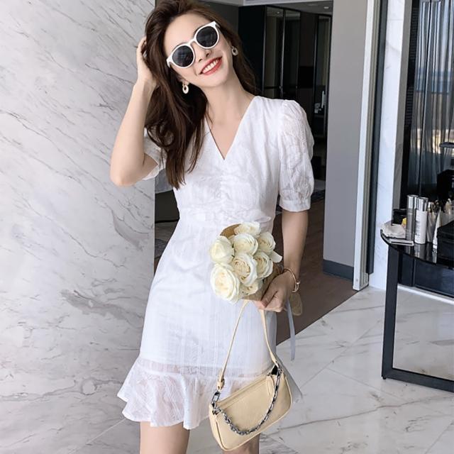 【女神婚紗禮服店】白色短版棉質V領短袖荷葉洋裝 提貨券(白色洋裝 棉質洋裝 短板)
