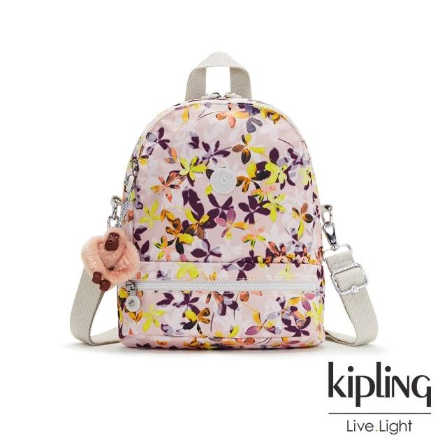【KIPLING】飄零落花粉兩用後背包-IVES S