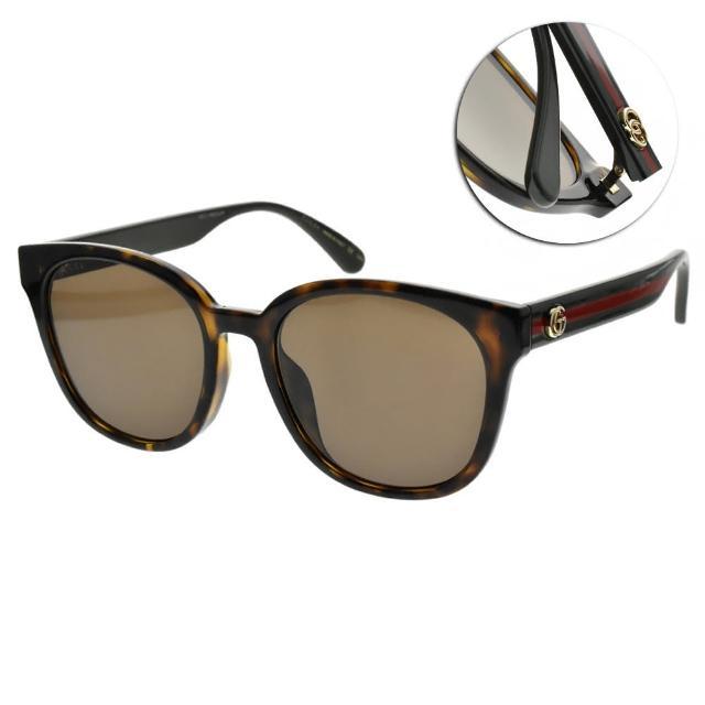 【GUCCI 古馳】太陽眼鏡 雙色鏡腳大框款(透琥珀-棕鏡片#GG0855SK 003)