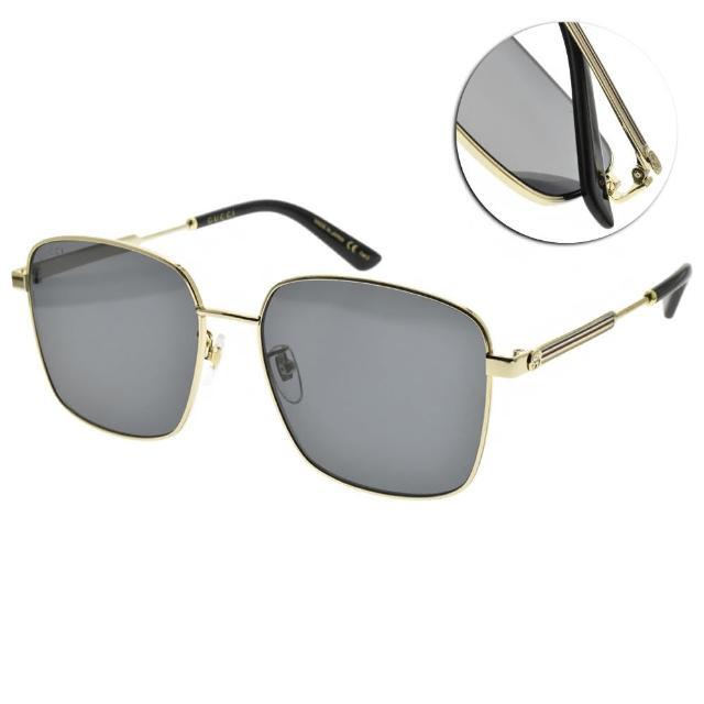 【GUCCI 古馳】太陽眼鏡 時尚金屬方框款(琥珀棕-棕鏡片#GG0852SK 002)