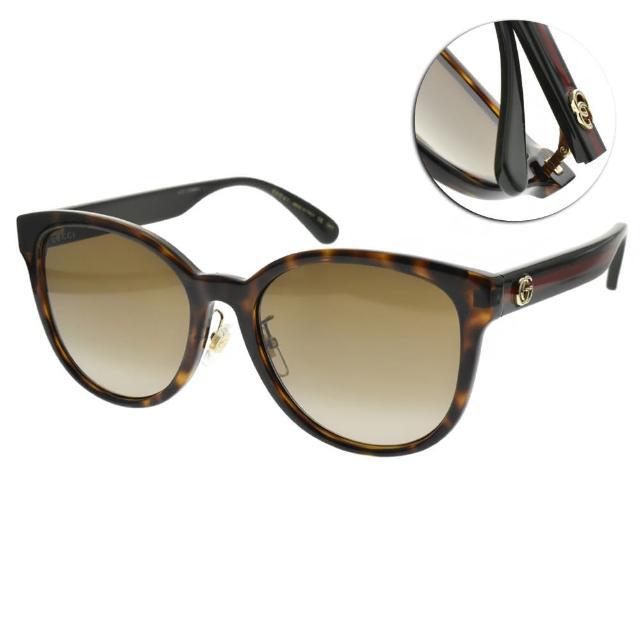 【GUCCI 古馳】太陽眼鏡 經典貓眼款(琥珀棕-漸層棕#GG0854SK 003)