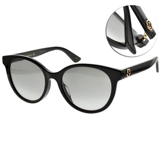 【GUCCI 古馳】太陽眼鏡 萬年不敗圓框款(黑-漸層灰鏡片 #GG0702SK 001)