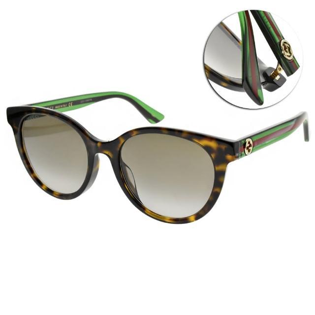 【GUCCI 古馳】太陽眼鏡 萬年不敗圓框款(琥珀棕-漸層灰綠鏡片 #GG0702SK 003)