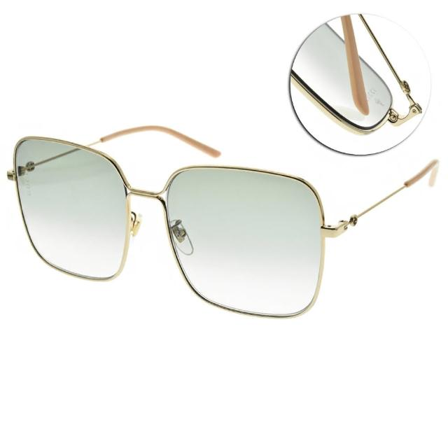 【GUCCI 古馳】太陽眼鏡 時尚金屬大方框(金-粉-漸層綠鏡片#GG0443S 004)