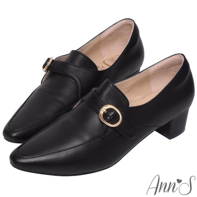 【Ann'S】手工製作頂級綿羊皮氣質金扣低跟踝靴4cm(黑)