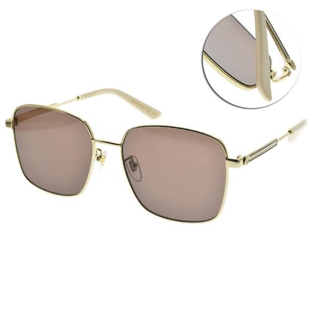 【GUCCI 古馳】太陽眼鏡 時尚金屬方框款(金-本白-棕鏡片#GG0852SK 004)