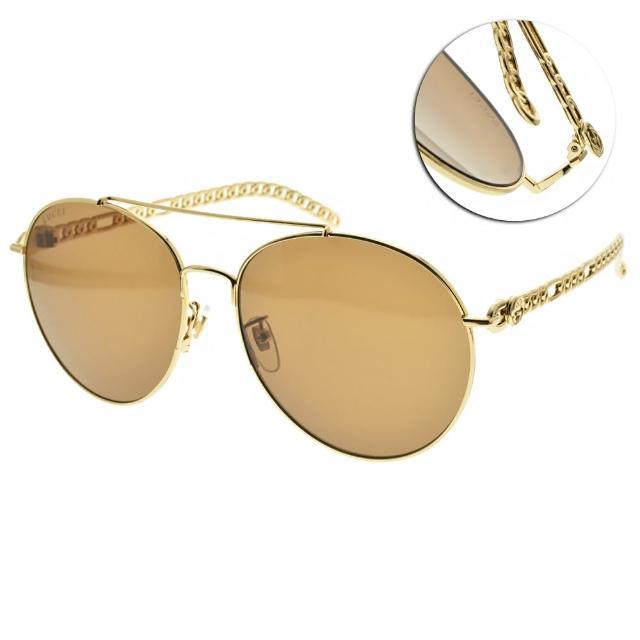 【GUCCI 古馳】太陽眼鏡 迷鏈系列(金-棕鏡片-紅 #GG0725S 002)