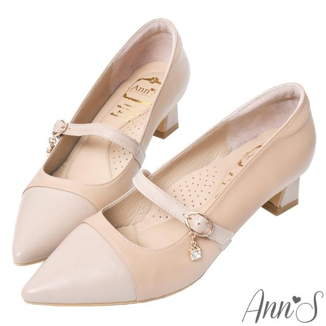 【Ann'S】散發溫柔魅力-閃耀水鑽瑪莉珍綿羊皮粗跟尖頭鞋4.5cm(米杏)