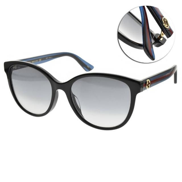 【GUCCI 古馳】太陽眼鏡 萬年不敗圓框款(黑-漸層藍鏡片 #GG0703SK 003)