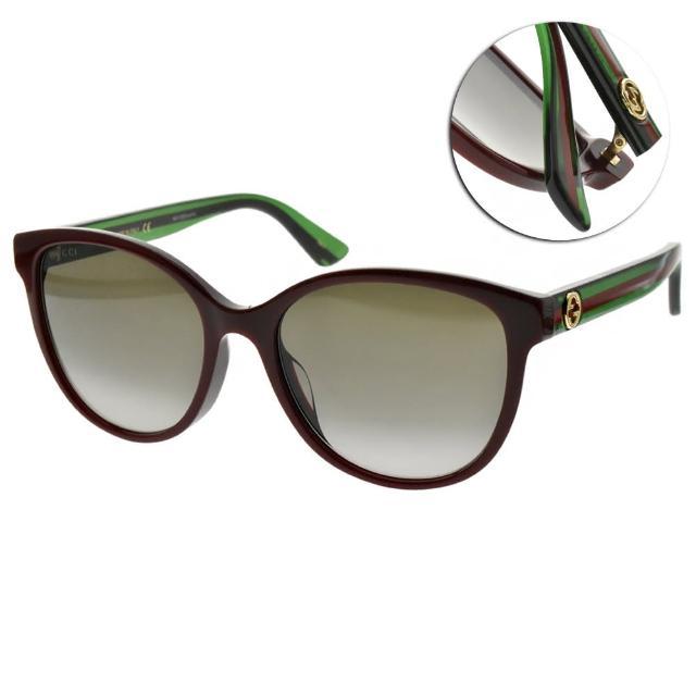 【GUCCI 古馳】太陽眼鏡 萬年不敗圓框款(紅-漸層灰綠鏡片 #GG0703SK 004)