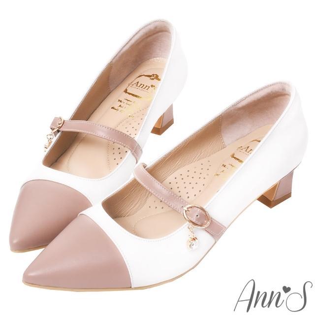 【Ann'S】散發溫柔魅力-閃耀水鑽瑪莉珍綿羊皮粗跟尖頭鞋4.5cm(粉白)