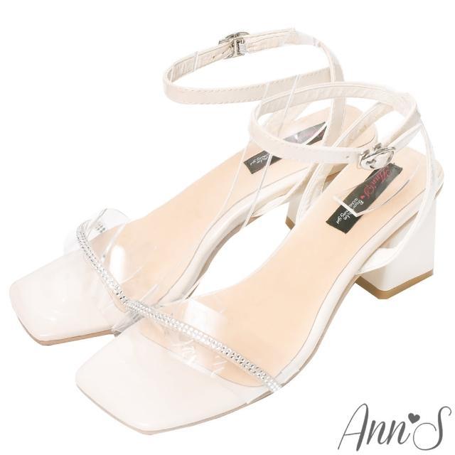 【Ann'S】純欲感-透明細緻鑽鍊梯形粗跟方頭涼鞋6cm(米)