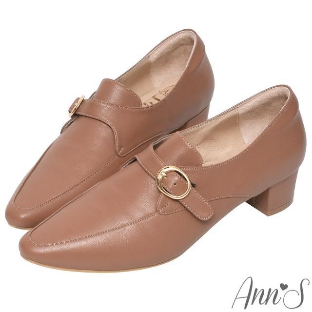 【Ann'S】手工製作頂級綿羊皮氣質金扣低跟踝靴4cm(棕)