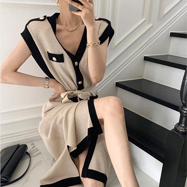 【BBHONEY】法式復古V領單排扣氣質長裙(網美熱搜款)