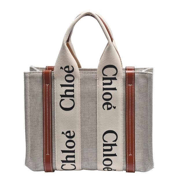 【Chloe' 蔻依】經典WOODY系列帆布手提包(小-棕色CHC21US385E6690U)