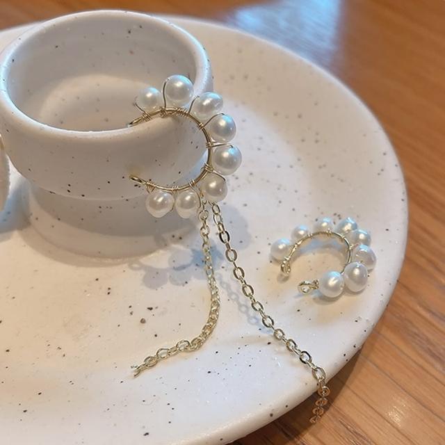 【NDM 南大門】韓國淡水珍珠不對稱流蘇耳骨夾式耳環無耳洞耳扣耳夾耳窩夾(1對入)