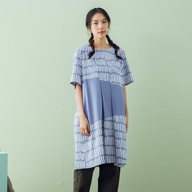 【MOSS CLUB】打折直條印花洋裝-女短袖洋裝 條紋 藍 白(二色/版型寬鬆)