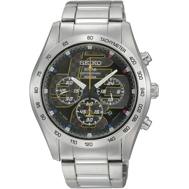 【SEIKO 精工】時尚太陽能三眼計時手錶-42mm(V175-0AN0D/SSC061P1)