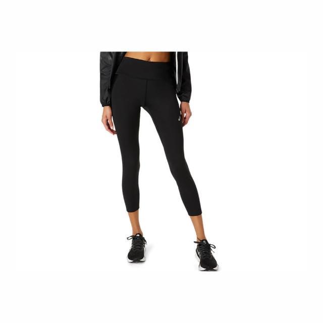 【asics 亞瑟士】Asics Apparels 女 緊身褲 運動 慢跑 訓練 健身 瑜珈 腰繩調整 防水口袋 黑(2012C096-001)