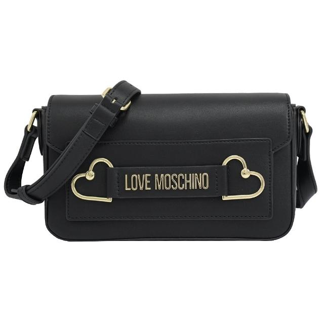 【MOSCHINO】LOVE MOSCHINO 愛心金屬LOGO皮革斜背包(黑)