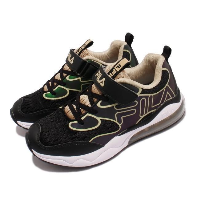 【FILA】慢跑鞋 J805V 運動休閒 反光 童鞋 女鞋 斐樂 魔鬼氈 透氣網布 球鞋穿搭 中大童 黑 金(3J805V066)