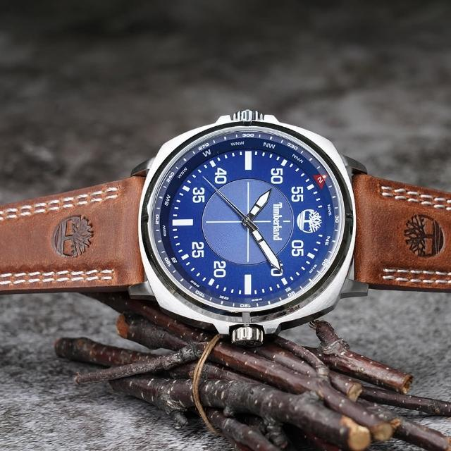 【Timberland】天柏嵐 廣告款手錶-藍x棕(TBL.15516JS/03)