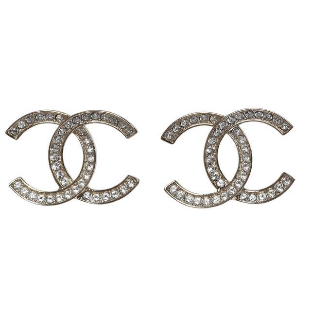 【CHANEL 香奈兒】經典大雙C LOGO水鑽鑲飾造型穿式耳環(金AB6727-OR)