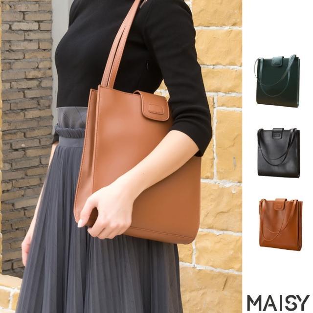 【MAISY】經典百搭真皮大容量單肩托特包(現+預 黑色 / 棕色 / 墨綠色)