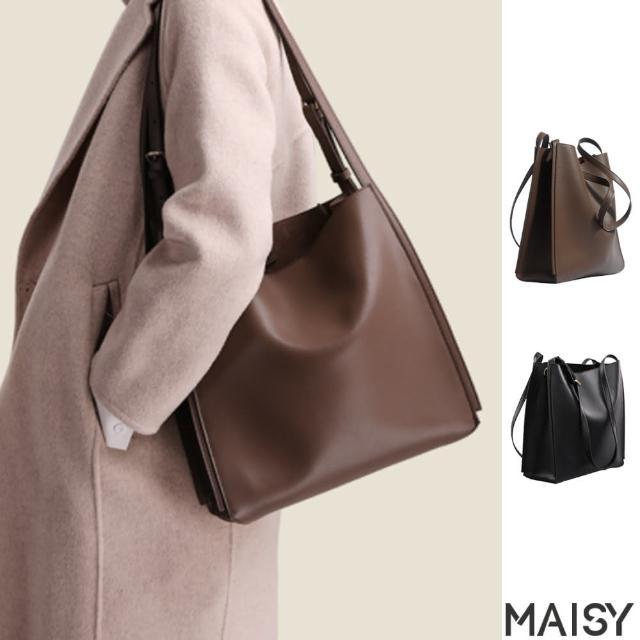 【MAISY】簡約質感真皮單肩斜背托特包(現+預 黑色 / 棕色)