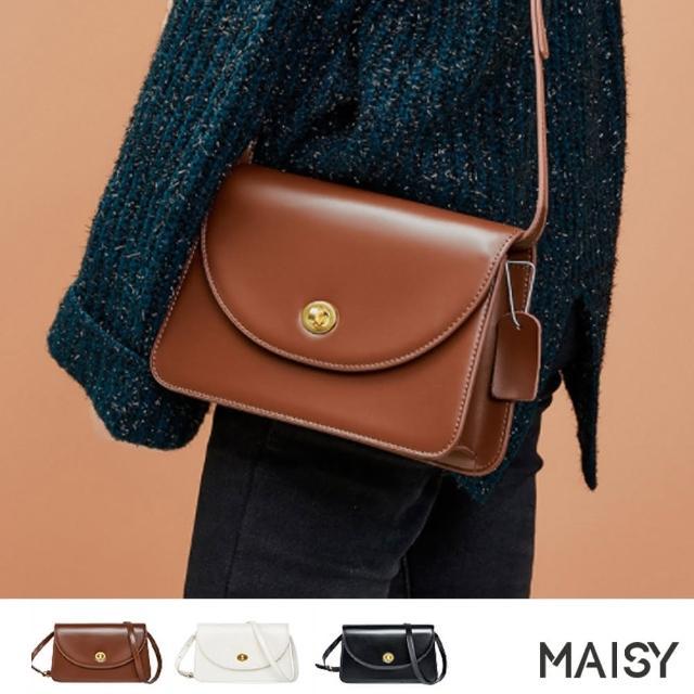 【MAISY】質感古銅轉鎖單肩斜背小方包(現+預 黑色 / 白色 / 焦糖色)